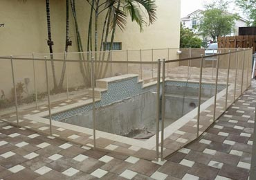 Beige Pool Fence
